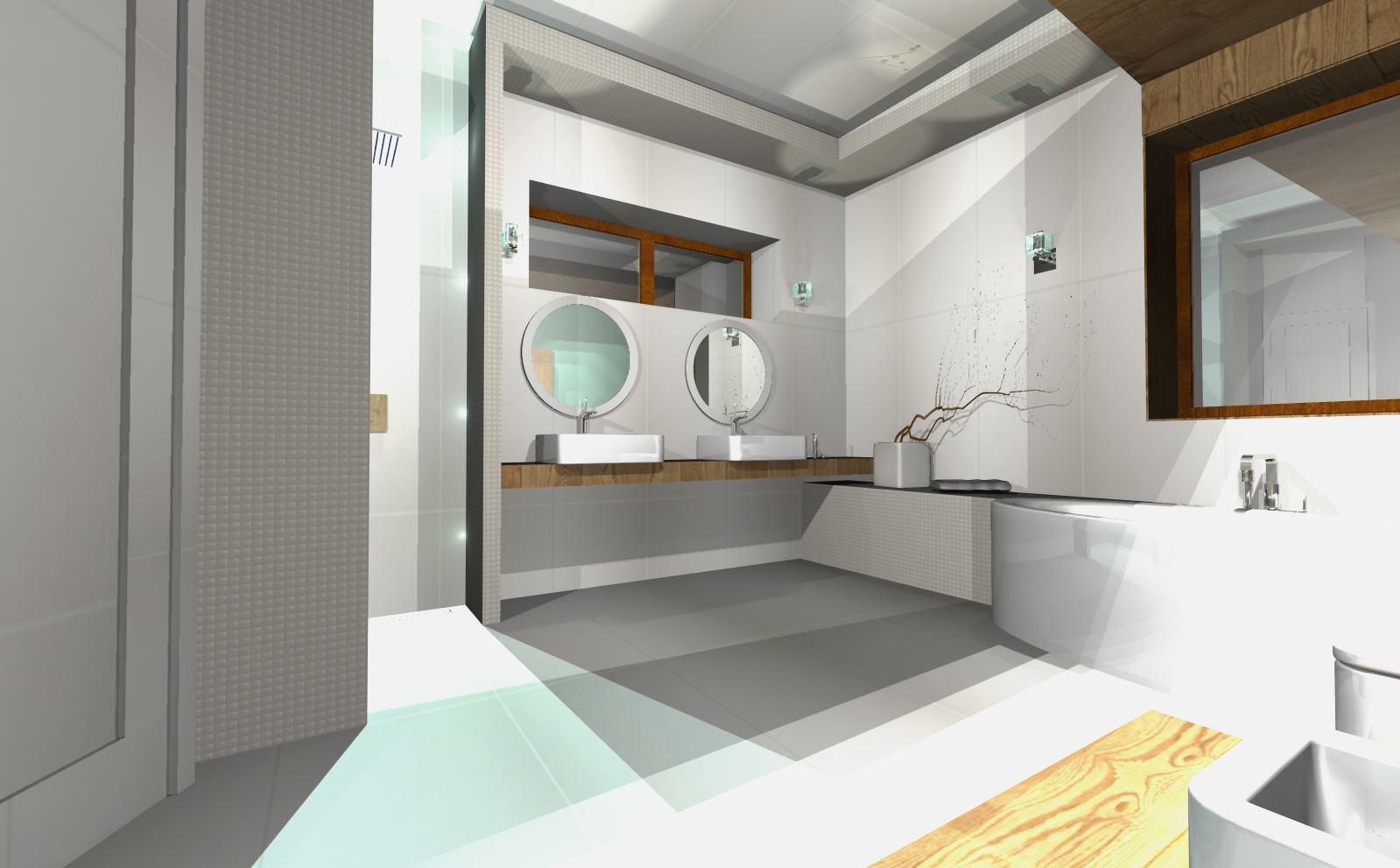 projekty łazienek nowoczesnych biała