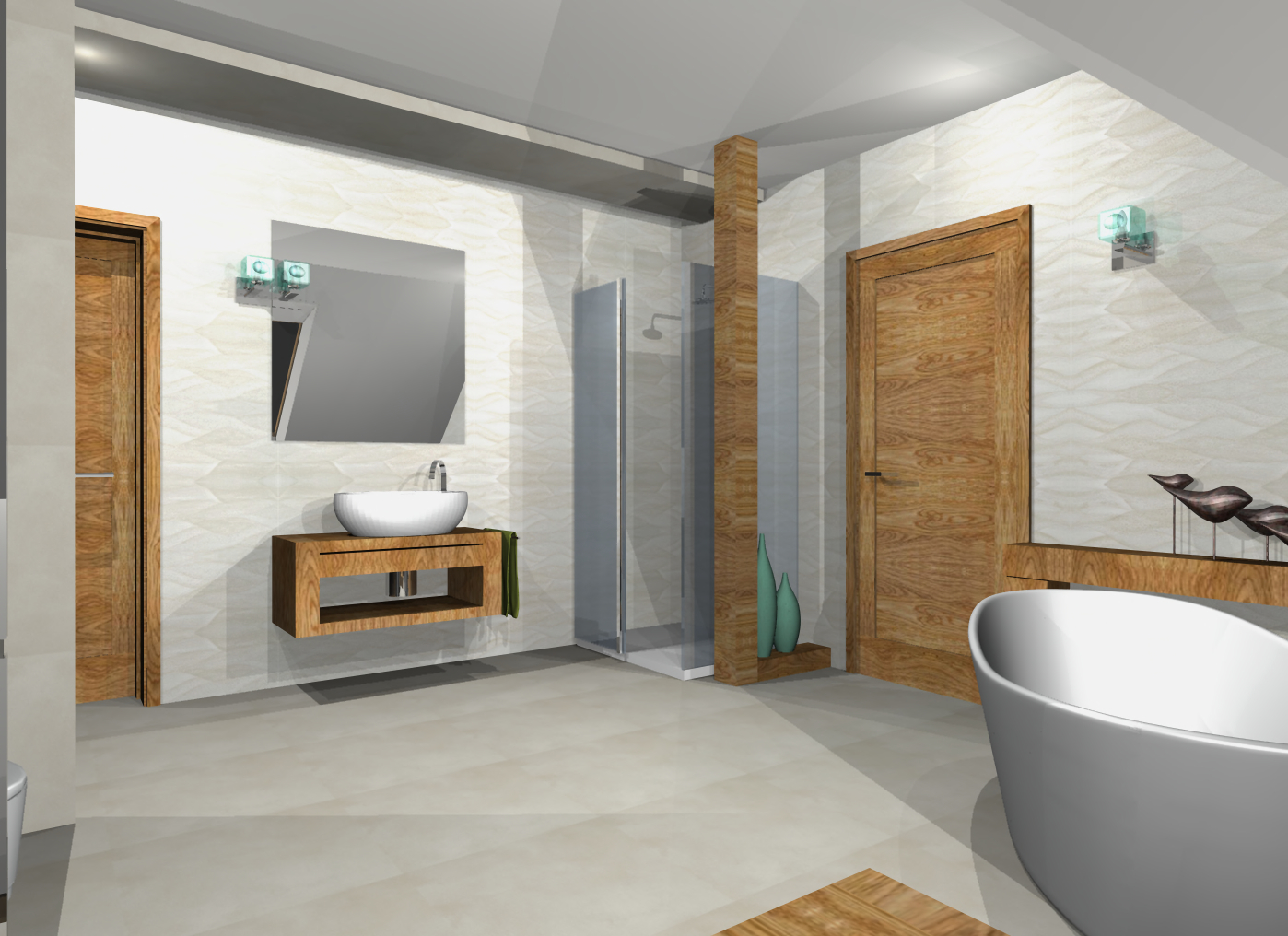 łazienki nowoczesne ceramika drewno