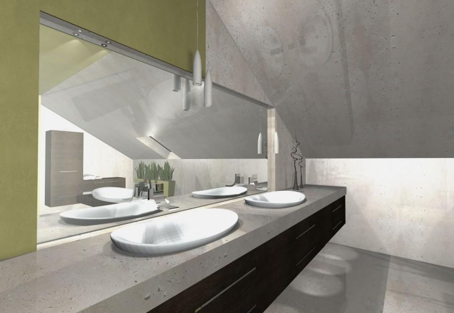 łazienka w betonie i lustrach