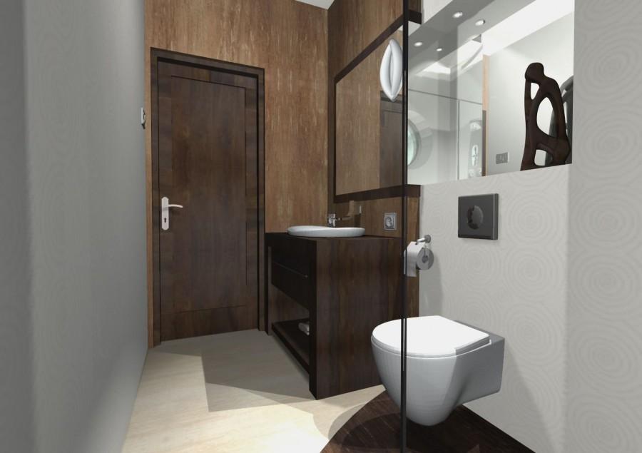 łazienka z ciemnym drewnem