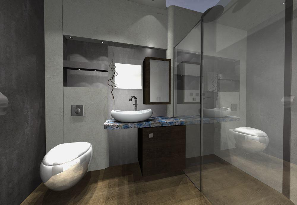 kolorowy marmur w łazience - nowoczesna