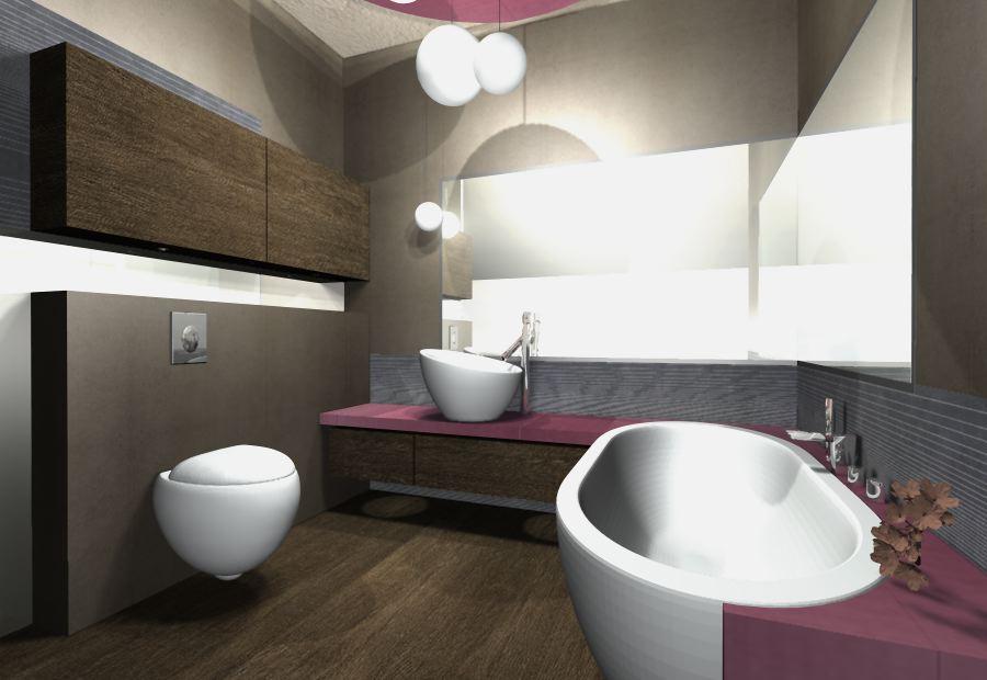 nowoczesna łazienka bordo