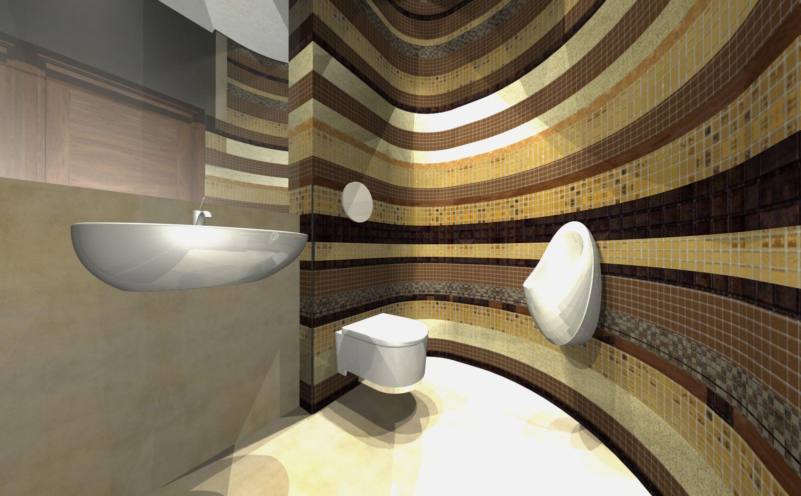 złoto brazowa mozaika łazienka