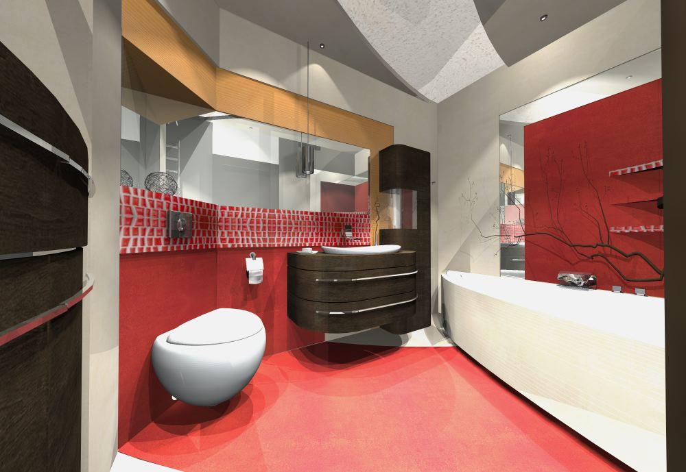Projekty azienek for Black red white boxspringbett