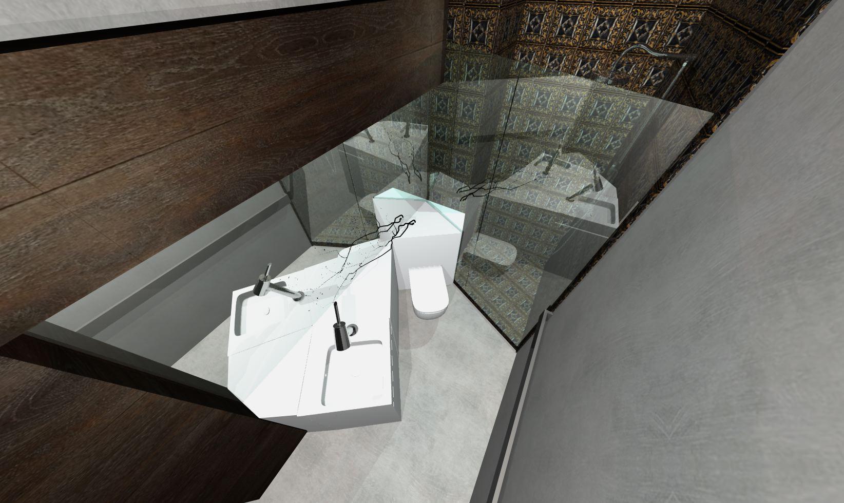 Łazienka wąska z elementami orientalnymi